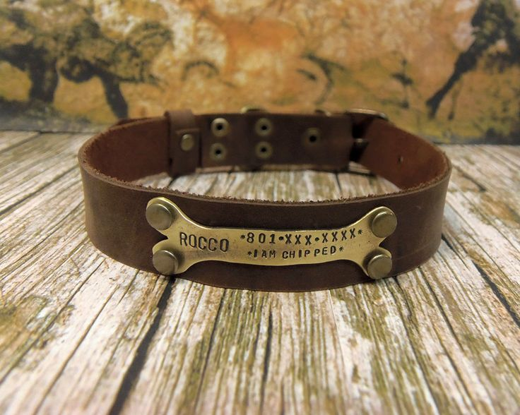 Leather dog colla, Dog Collar, Leather Collar, Personalized Dog Collar, Pet Gift, Dog Name Plate, Pet id Tag, Rustic Brown, Small Dog collar by VacForPets on Etsy