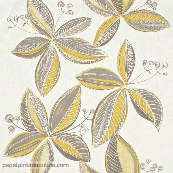 Papel Pintado Copenhague CPH_1841_21_32, papel con tiras verticales con grandes flores con hojas abiertas en tono gris, marrón y amarillo ocre.