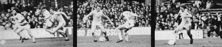 30th December 1978. Leeds United and Scotland winger Arthur Graham in action against Queens Park Rangers, at Loftus Road.
