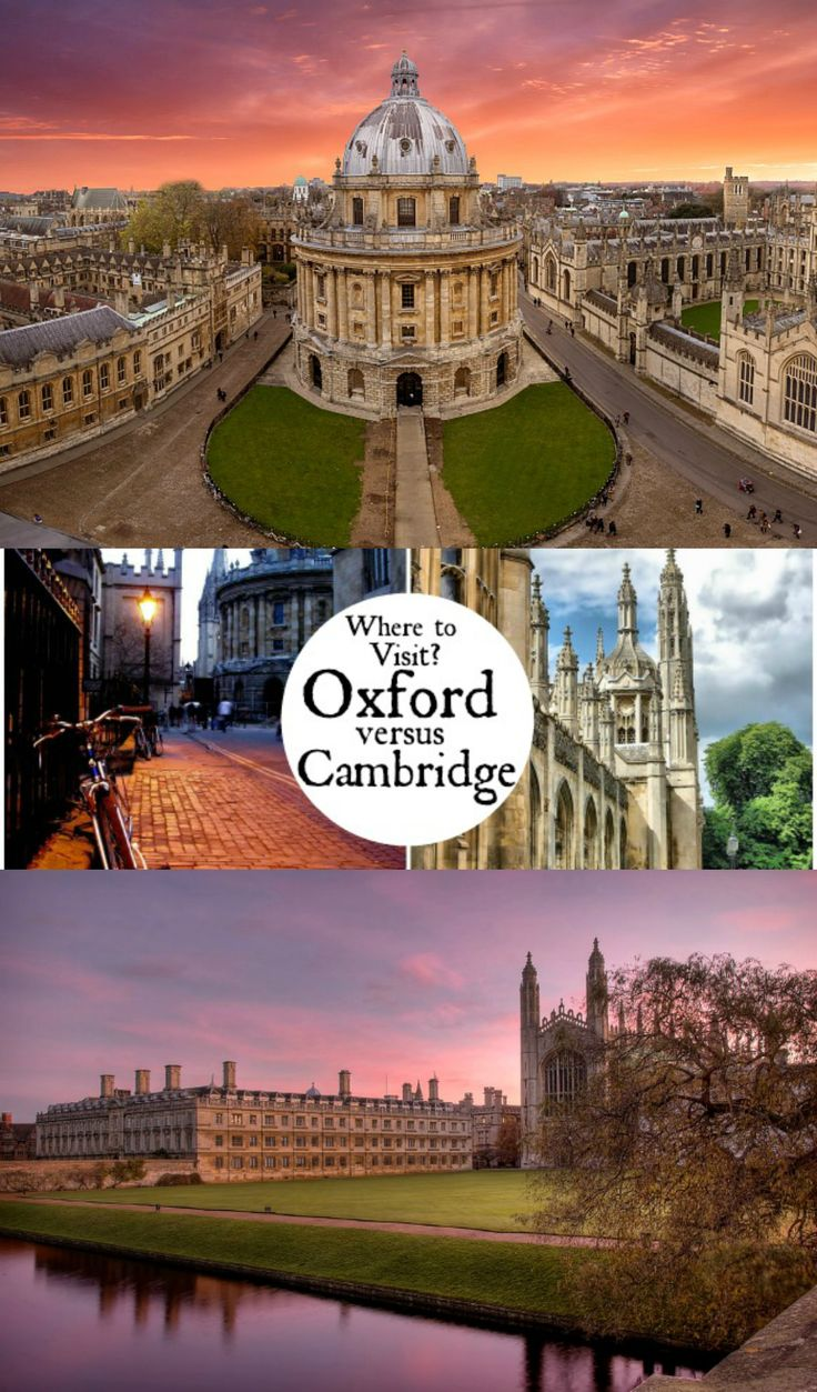 Where should you visit - Oxford or Cambridge? Both incredible UK destinations have unique things to offer, we focus on history, architecture, literature, science, punting, location and size to help you make your decision.