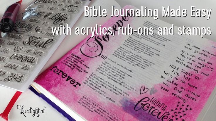 Bible journaling made easy -  psalm 99 and 100 - tutorial by Lucilight - acrylics, rub-ons and stamps