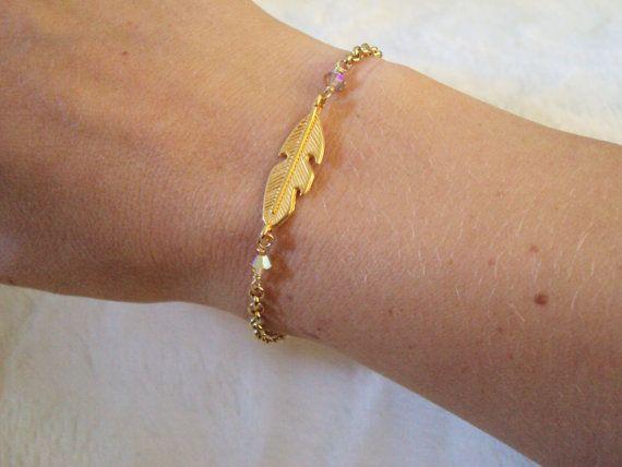 Swarovski crystal and golden leaf bracelet with gold plated chain