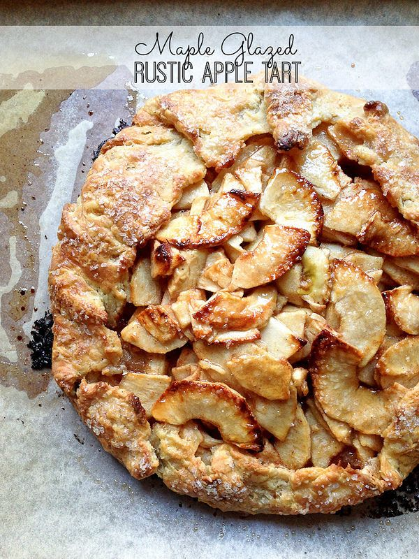 Rustic apple tart glazed with maple syrup is the best of fall baking. | via Smells Like Home food blog