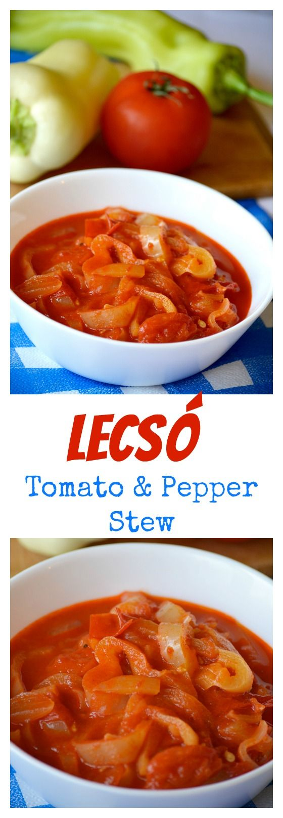 """Hungarian lecsó is a stewed mix of peppers, tomatoes and onions. It is sometimes called """"Hungarian ratatouille"""". Lecsó comes in many variations and it can be served on its own, as a side or as a main dish, at any time of the day. A nice vegetarian dish, but meat lovers prefer cooking it with smoked paprika sausage. Click for the recipe."""