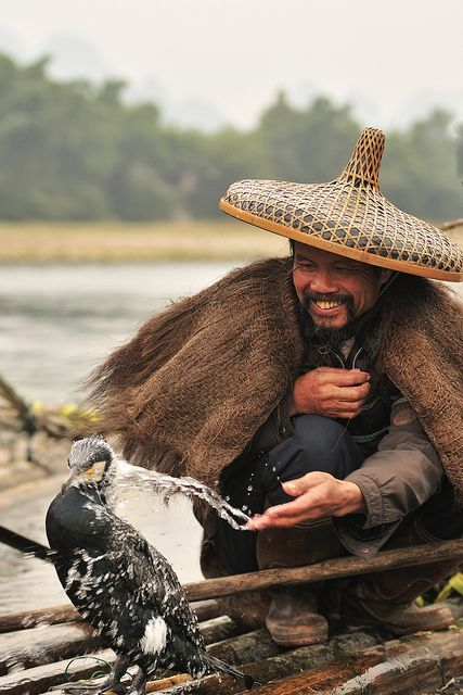 Fisherman and Cormorants, Guilin, China  | In #China? Try http://www.importedFun.com for award winning #kid's #science |