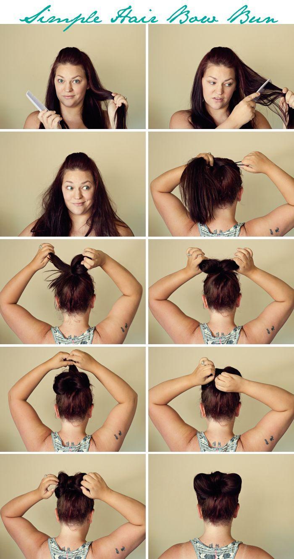 Simple Hair Bow Bun Tutorial | Guest Post by Three in Three