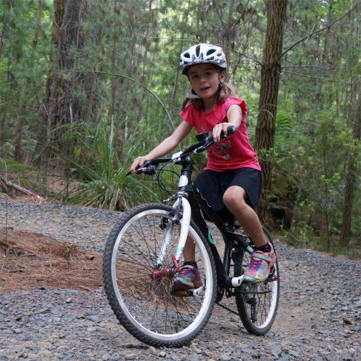 Erika on her 450MTB in the awesome new Hollybank Mountain Bike Trail in Tasmania.