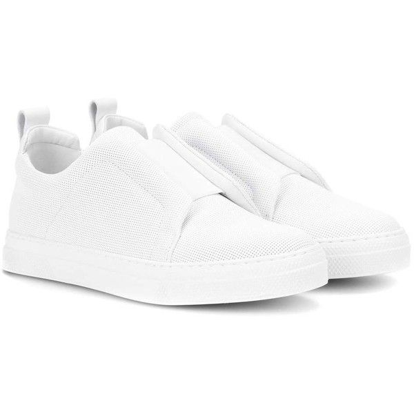 Pierre Hardy Slider Textured Leather Sneakers ($470) ❤ liked on Polyvore featuring shoes, sneakers, white, pierre hardy sneakers, white sneakers, pierre hardy, white shoes and white trainers
