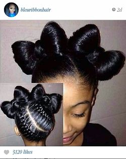 Cute protective style for a party ... Achieve this look on straightened natural hair. A nice twist to this look would be to have two cornrows in the back then putting them together for one bow in the front.