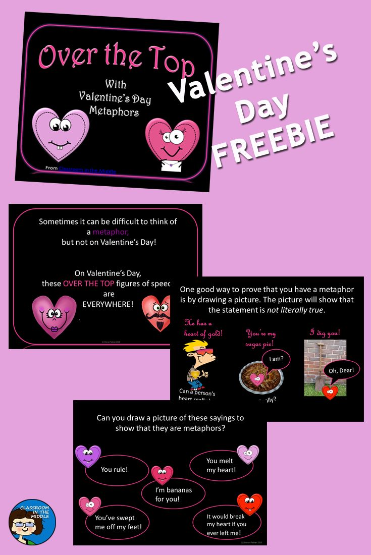 This short, FREE,  PowerPoint introduces metaphors in a way that makes this type of figurative language clearly understandable to middle grade students by using common Valentine's Day sayings as examples. The slides include a definition of metaphor, examples, and opportunities for students to practice. They demonstrate how students can draw the literal meaning of a saying to show that it is a metaphor.