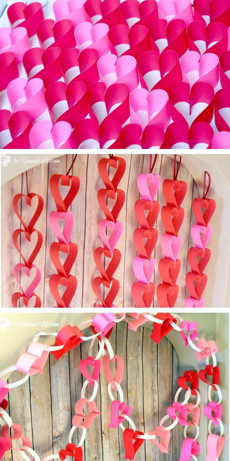 DIY Valentine's Day Heart Paper Garland - Easy and frugal DIY heart paper garlands for Valentine's Day decor. TWO different tutorials!