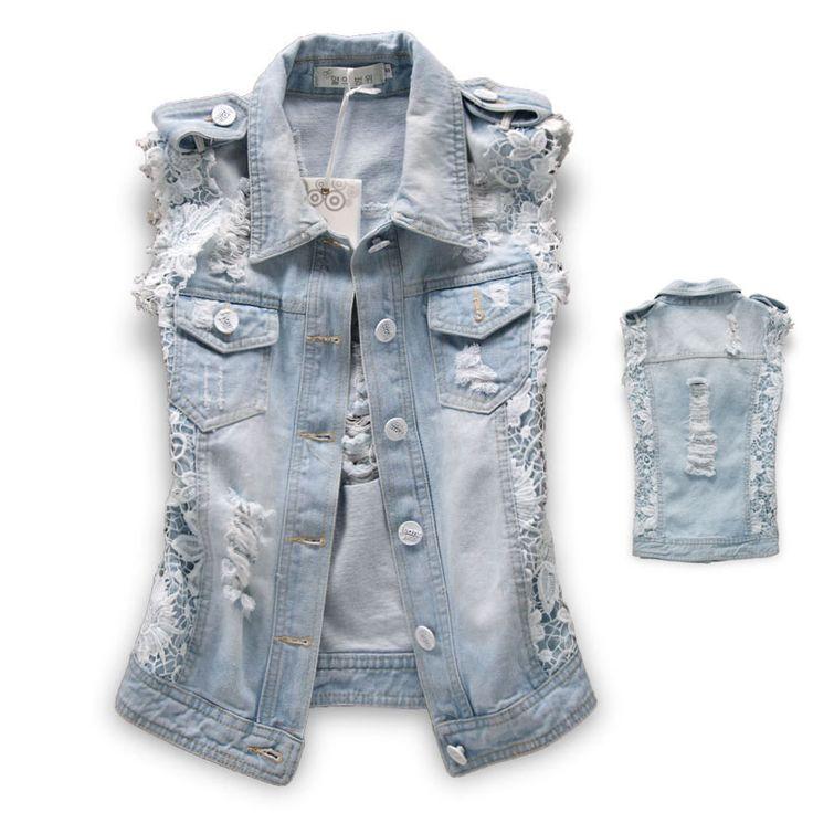 Осень 2013 уличная мода кружева лоскутное джинсовой жилет камень промывают супер джинсовой верхняя одежда женский жакет бесплатную доставку US $25.90