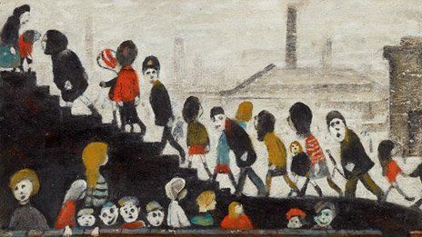 Children Walking up Steps by LS Lowry