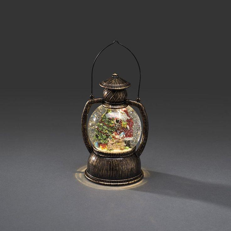 Konstsmide Indoor Water Filled Lantern with Santa Scene and Warm White LED's - Lighting Type from Castlegate Lights UK