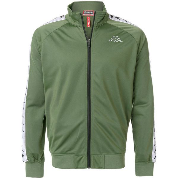 Kappa zipped track jacket ($53) ❤ liked on Polyvore featuring men's fashion, men's clothing, men's activewear, men's activewear jackets and green