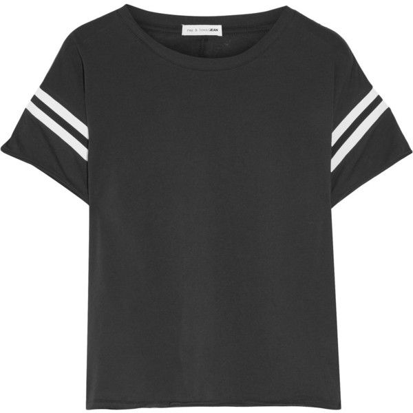 rag & bone Vintage striped cotton-jersey T-shirt (660 DKK) ❤ liked on Polyvore featuring tops, t-shirts, shirts, blouses, black and white t shirt, striped t shirt, black and white striped tee, loose fit t shirts and black white striped shirt