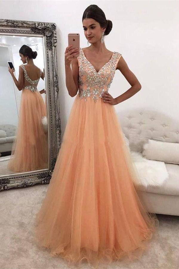 614a3d1399723 V-neck Long Sparkly Open Back Flowy Prom Dresses,Wedding Party Dresses Z0325