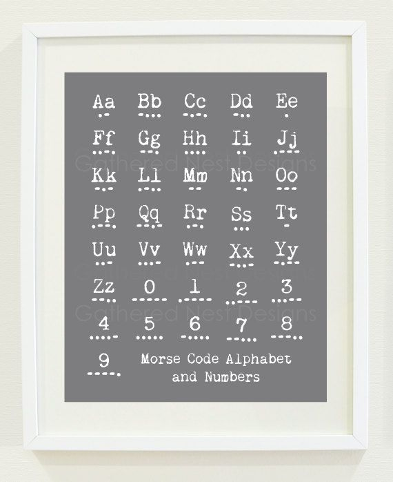 Morse Code Alphabet and Number Print in von GatheredNestDesigns