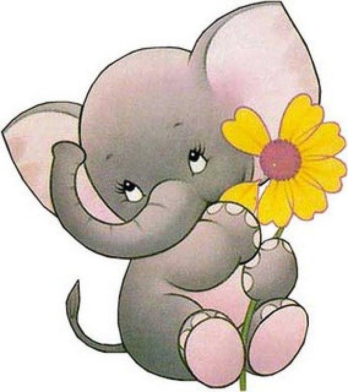 Букет цветов и два слоненка