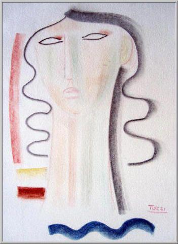 1979 Volto Solare: Pastello su Carta Vellutata cm.50x33 Collezione Privata Pinerolo (TO)  Archivio numero 2600.