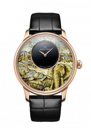 Jaquey-Droz-Ateliers d'Art collection|Model:Petite Heure Minute Elephant Mosaic |18 carat red gold dial with elephant motif in lacquered quail eggshell mosaic, onyx center. 18-carat red gold case. Mechanical movement. Power reserve of 68 hours. Diameter 43 mm. Numerus Clausus of 8.