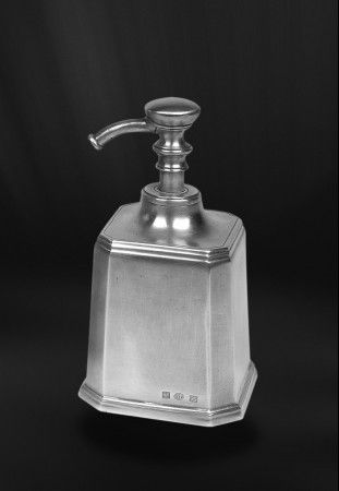 pewter soap dispenser  http://www.pewter-gt.com/pewter-products/pewter-bath-accessories  #italian #pewter #housewares #manufacturers #madeinitaly #bath #accessories #soap #dispenser