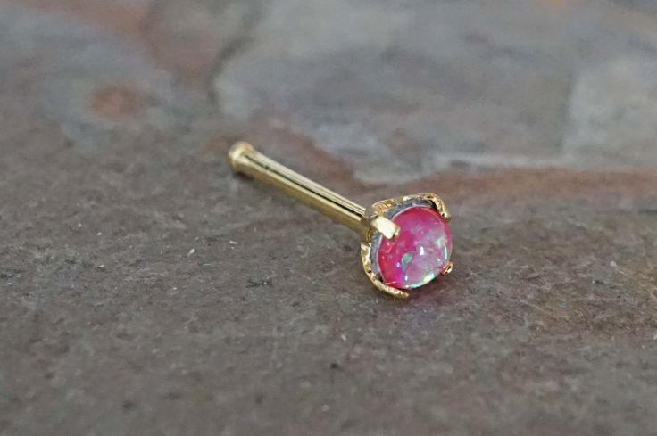 Pink Opal Gold Nose Bone Gold Nose Stud Nose Ring Prong Set