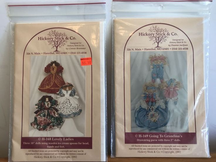 Going to Grandma's Drawstring Purse & Dolls Lovely Ladies Hickory Stick Patterns