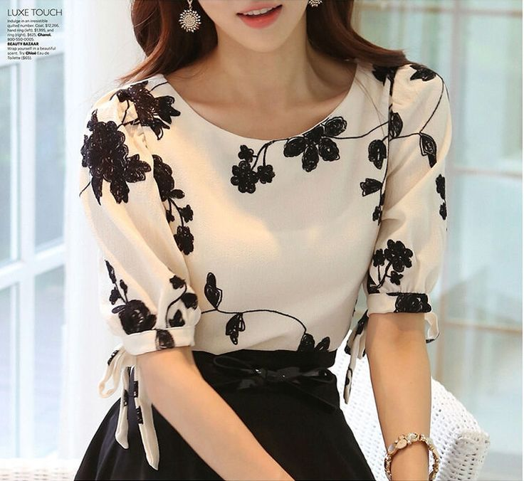 Barato Mulher Tops camisa verão Floral preto branco bordado Chiffon blusas Plus Size arco meia manga da camisa roupas femininas S   XXXL, Compro Qualidade Blusas diretamente de fornecedores da China:                                 Nota: