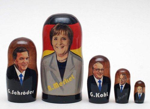 German Cancellariuses (Merkel, Schroder, Kohl, Brandt, Adenauer) matry | ArtMatryoshka - Art on ArtFire