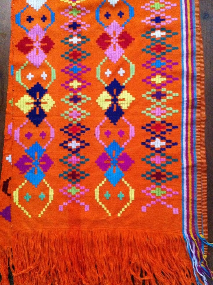 NTT Traditional Ikat Weaving Orange Krawang Shawl Timor Motif's
