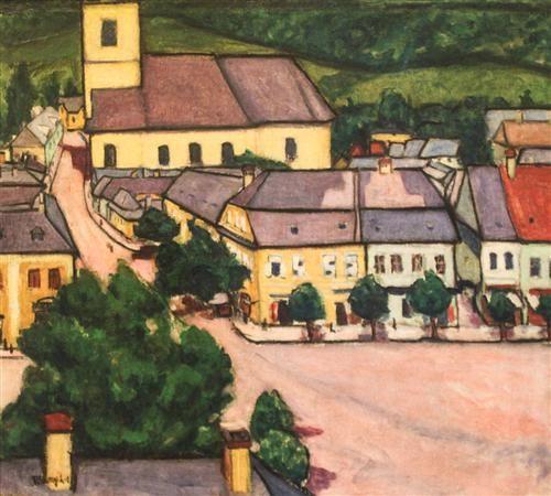 Main Square in Nagybánya - Lajos Tihanyi