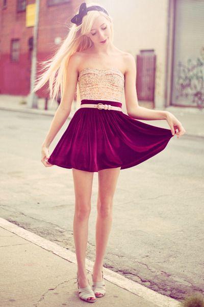 The+Velveteen+Rabbit-crimson-velvet-american-apparel-skirt-peach-floral-corset-urban-outfitters-top