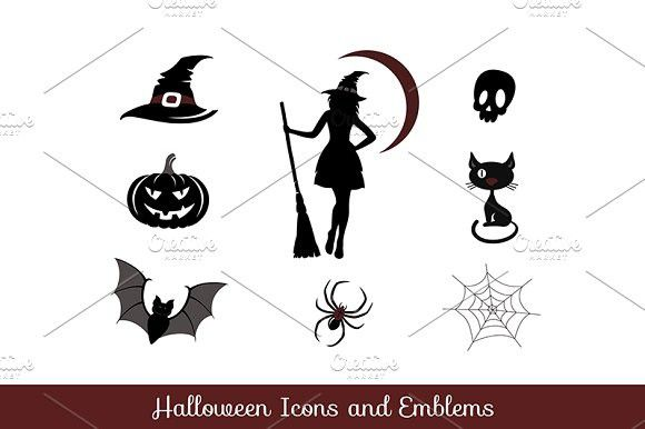 Halloween icons and emblems. Cat #broom