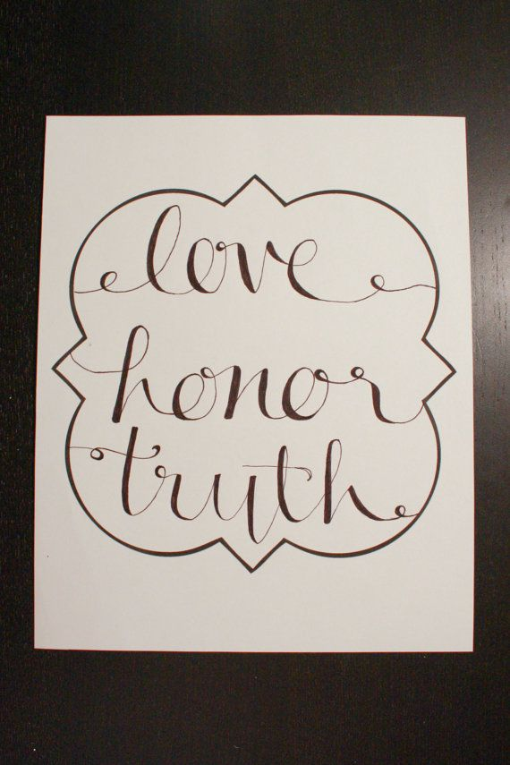 Phi Mu: Love Honor Truth Print on Etsy, $15.00