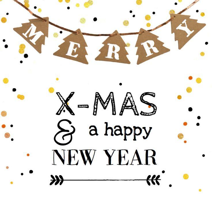 Hippe gezellige confetti kerstkaart met druk van kerstbomen slinger van karton, koper draad en goud confetti. Verkrijgbaar bij #kaartje2go voor €11,95
