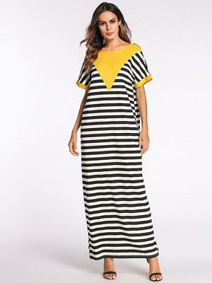 Summer Maxi Dress Women Muslim Abaya Long Robe Striped Loose Dress Islamic  Arab  6fd7e0255