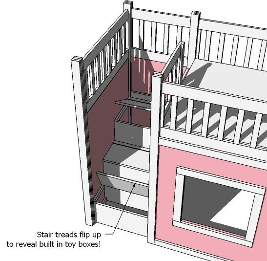 """""""diy plans to build playhouse loft bed stairs that open to storage underneath - this is awesome!!!"""" Ah ha, here it is! I wonder if I could play with the other side and add a slide?! How cool would that be? 