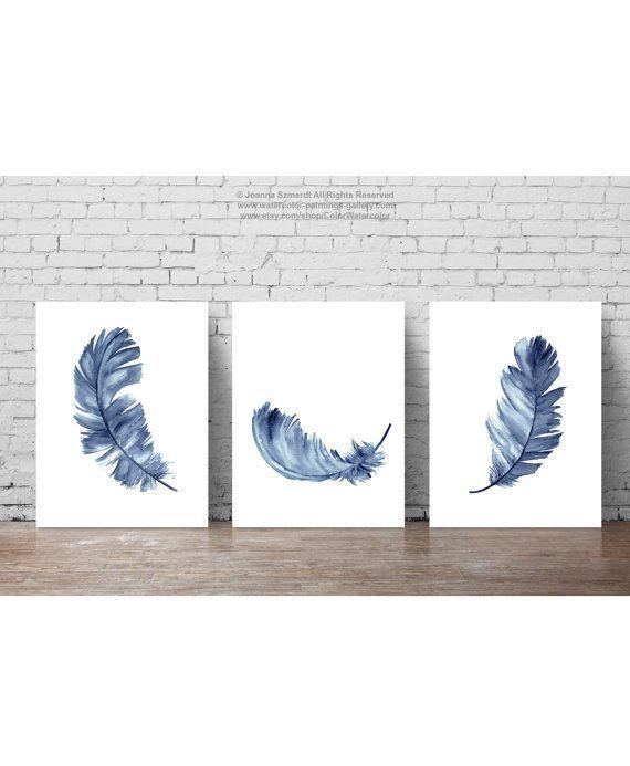 Baby Boy Kinderzimmer Wand Dekor moderne Geschenkidee. Blaue Federn Kunstdruck. Aquarell Feder Clipart-Set von 3 Navy Feather Kinderzimmer minimalistischen