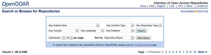 OpenDOAR es un motor de búsqueda para repositorios de recursos abiertos. Hasta julio de 2012, abarca poco más de 2000 repositorios. Puede buscar también directamente el contenido en ellos, a través de Google. Incluye resultados en Google maps, por idiomas y por tipo de recurso, incluyendo objetos de aprendizaje.