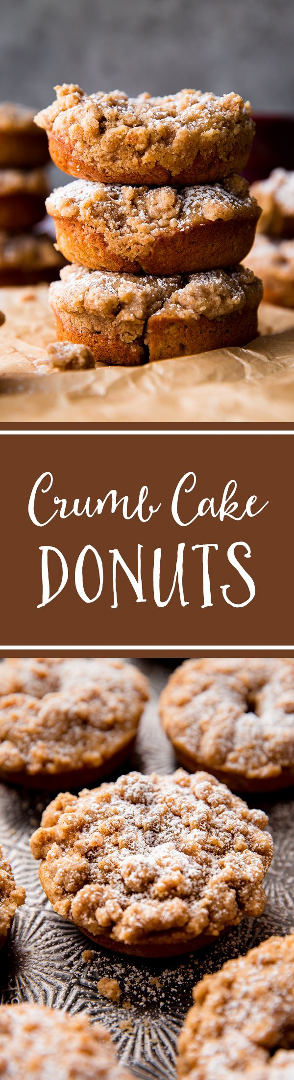 Crumb cake donuts, baked not fried, and HEAVY on the brown sugar cinnamon crumb topping. Recipe on sallysbakingaddiction.com