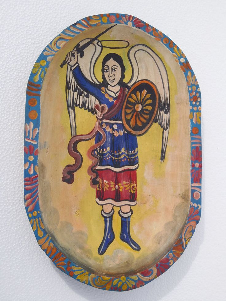 Hand painted wood dough bowl with St. Michael the Archangel, mexican folk art
