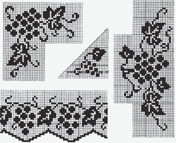 antique crochet filet patterns fruit edges corners antieke haakpatronen randen hoeken haken