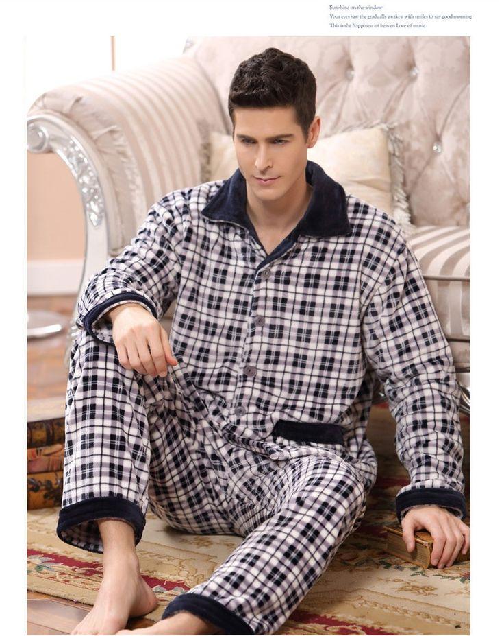 2016 nova primavera inverno manter quente grosso homens Coral Fleece pijama conjunto de sono Tops e Shorts de flanela Sleepwear camisola térmica em Conjuntos de pijama de Dos homens de Roupas & Acessórios no AliExpress.com   Alibaba Group