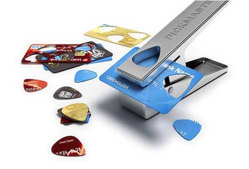 Guitar pick punch to recycle credit cards and plastic gift cards. awesome.
