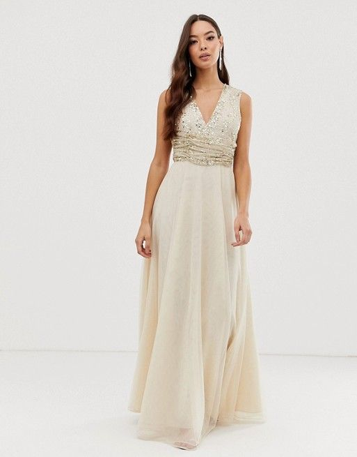 85679fc7cfe05 DESIGN maxi dress with pearl and sequin embellished drape bodice in ...