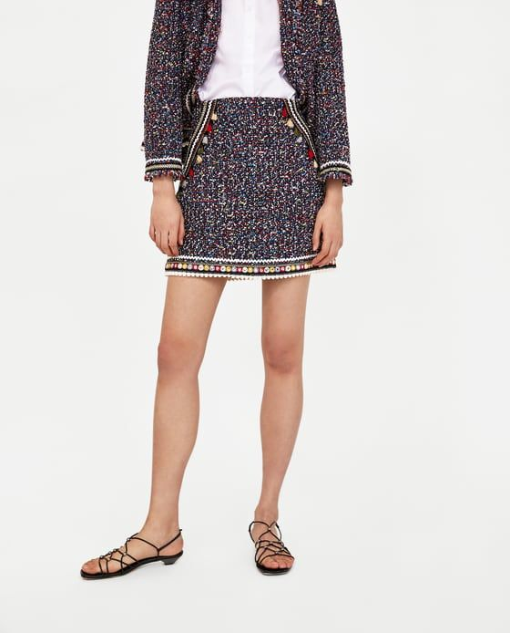 58b6814837 Image 2 of TWEED SKIRT WITH TRIMS from Zara | shopping for clothes ...