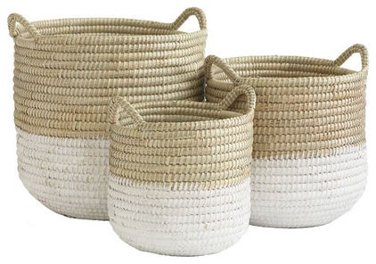 mediterranean laundry baskets by Wisteria - DIY - create your own version by adding white paint to existing baskets