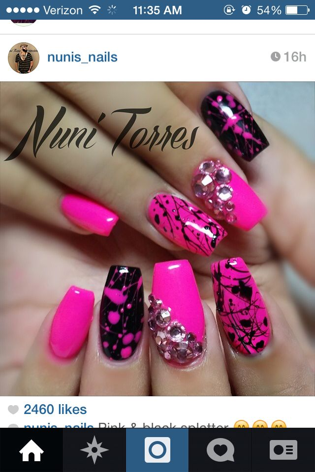 Black and pink splatter nails