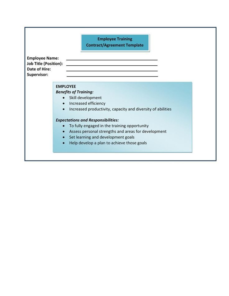 Form 9-Employee Training Contract-Agreement Template Human - landlord inventory template free